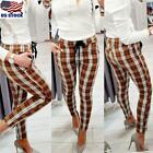 Womens High Waist Plaid Check Casual Trousers Ladies Slim Fit Skinny Long Pants