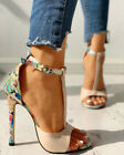 Womens Floral Stiletto High Heels Ladies Peep Toe Ankle Strap Sandals Shoes Size