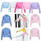 Child Girls Dance Cardigan Top Ballet Dance Wrap Shawl Front Knot Cropped Cover