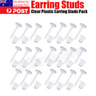 New Clear Plastic Flat Earrings Studs & Backings - Transparent Invisible Blank