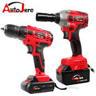 20V max Cordless Drill/Impact Wrench Brushless 1/2'' Rattle Gun Battery+charger