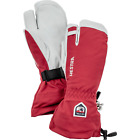 Hestra Army Leather Heli Ski Glove Unisex 3 Finger In Red