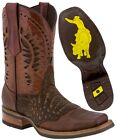 Mens Western Cowboy Boots Cognac Alligator Belly Pattern Leather Square Toe Bota