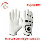Leather Golf Gloves Right Hand Left All Weather Grip with Ball Marker 1 Pc White