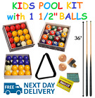 "KIDS POOL / BILLIARD SET - 2x 36"" CUES, BALLS, TRIANGLE, FREE CHALK £34.99 GBP on eBay"