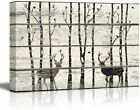 wall26 - Deer in Birch Forest - Rustic Canvas Wall Art Home Decor