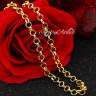 9k Gold Gf 5mm Belcher Ring Link Chain Mens Women Girl Solid Necklace 16-30 Inch
