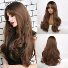 Long Wavy Synthetic Wigs with Bangs for Women Ombre Brown Daily Party Cosplay