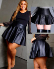 Plus Size Leather High Schoolgirl Sexy Club Outfit Pleated PVC Circle Mini Skirt