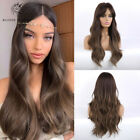 Fashion Dark Brown Wave Synthetic Hair Wigs with Bangs Ombre Wavy Wig for Women