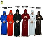 Medieval Friar Vicar Monk Priest Robe Halloween Fancy Dress With Six Colors