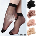 10/20 Pairs Women's Ankle Socks Ultra-thin Elastic Sheer Silky Short Stockings