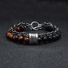 UK Natural Tigers Eye Obsidians Mens Bracelets 8mm Beads And Stainless Steel Men