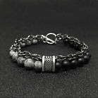 UK Stress Relief Tigers Eye Obsidians Mens Bracelets 8mm Beads With Chain *UK*