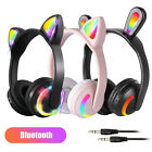 Cat Ear Bluetooth Headphones Audio Wireless LED Stereo Headsets For Girls Kids