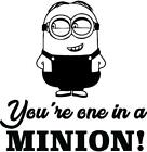 You're One In A Minion Wall Art Decor | Removable Despicable Me Lettering Quotes
