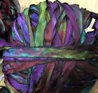 """Vintage Hand Dyed Curly Ribbon 1/4"""" Rayon Black Edge 3yds Made in USA"""