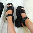 Womens Ladies Chunky Flatform Sandals Strappy Buckle Goth Platform Rock Shoes Sz