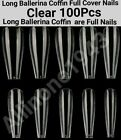 100/500Pc Long Ballerina Full Cover Artificial False Nail Tips-Natural/Clear