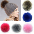 Charm Large Faux Raccoon Fur Pom Pom Ball With Press Button For Knitting Hat Key
