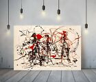 JACKSON+POLLOCK+24-+FRAMED+CANVAS+ARTIST+WALL+ART+PAPER+PICTURE+PRINT-+BLACK+RED