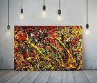 JACKSON+POLLOCK+25-FRAMED+CANVAS+ARTIST+WALL+ART+PAPER+PICTURE+PRINT-+YELLOW+RED