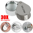 30X Magnifying Loupe Coin Jewelry Jewelers Pocket Magnifier Loop Eye Glass 24mm