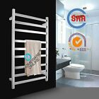Stainless Steel Electric Heated Towel Rail Rack Ladder Warmer Round Bars Silver
