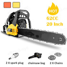 """62CC Cordless Chainsaw 20"""" Gas Powered Gasoline Handed Petrol Saw Woodcutting"""