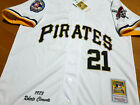 Pittsburgh Pirates White #21 ROBERTO CLEMENTE 2patch SEWN cooperstown Jersey men