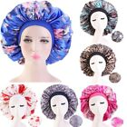 Large Satin Night Cap Women Print Headscarf Turban Chemo Hat Sleep Bonnet Beanie