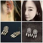 1 Pair Cute Mini Jewelry Bohemia Feather Earrings Tassel Dream Catcher Ear Studs