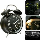 Vintage Extra Loud Alarm Clock Twin Bell Battery Analogy Backlight Bedroom Black