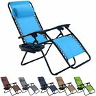 Folding Zero Gravity Reclining Lounge Chair Outdoor Beach Patio W/Utility Tray