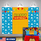 Blue Sky White Clouds Yellow Grids Backdrop Toy Story Birthday Party Background