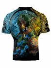 Raven Fightwear Men's Huitzilopochtli Aztec Short Sleeve Rash Guard MMA BJJ Bla