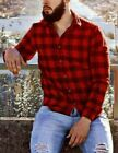 Mens Long Sleeve Flannel Shirt Dress Shirt Plaid Heavy Duty Shirt Plaid Shirt