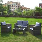 4 Piece Rattan Garden Furniture Set Patio Sofa Table Chairs Beige/ Grey Cushions