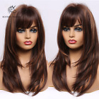 Brown Highlights Blonde Natural Layered Hair Wigs With Bangs Long Wavy for Women