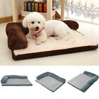 L-Shape Pet Dog Bed Orthopedic Soft Corduroy Sofa-Style Headrest Chaise Couch UK
