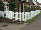 White Primed Wooden Pointed Picket Fencing