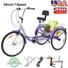 Adult Tricycles 7 Speed 24 Inch Three Wheel Bike Cruiser Trike with Large Basket