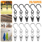 25/50pcs Stainless Steel Curtain Rod Hook Clips Hanging Photos Home Rings Clamps