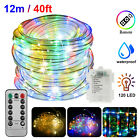 40FT 120LED Rope Strip Light Waterproof In/Outdoor 8-Mode Xmas Flexible w/Remote