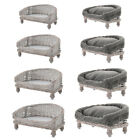 Handmade Wicker Half Moon Raised Pet Cat Dog Sofa Couch Blanket Bed Basket Pad