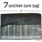 Fish WOW Black 7 Pocket fishing bag Roll-up Trolling Jig Lure Tackle Storage lot