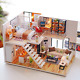 Loft Apartments Miniature Dollhouse Wooden Doll House Furniture Led Kit Christma