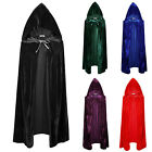 Halloween Medieval Vampire Velvet Hooded Cloak Wicca Robe Witch Larp Capes Tops