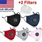 Us Cloth Cotton Fabric Face Mask Reusable Adjustable Washable With Valve+ Filter