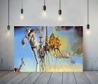 DALI TEMPTATION OF ST ANTHONY- FRAMED CANVAS WALL ART PICTURE PAPER PRINT- BLUE